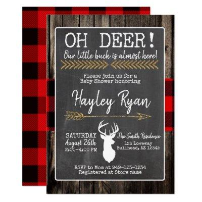 OH Deer! Little Buck Buffalo Plaid Baby Shower Invitation