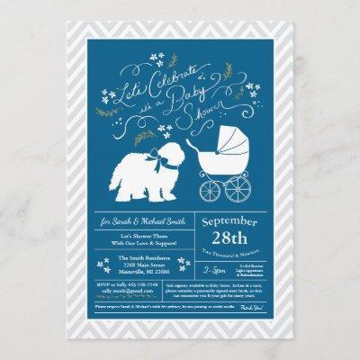 Old English Sheepdog Dog Baby Shower Boy Blue Invitation