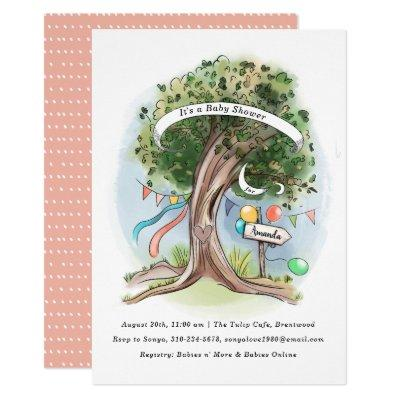 Old Oak Tree Balloons Flag Party Baby Shower Invitation