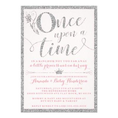 Once Upon A Time Silver Princess Baby Shower Invitation