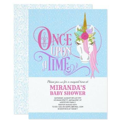 """Once Upon a Time"" UNICORN Baby Shower Invitation"