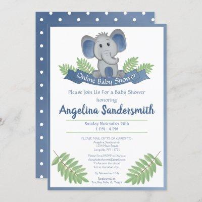 Online Baby Shower By Mail Blue Boy Elephant Invitation