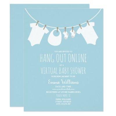Online Virtual Baby Shower Clothesline Blue Invitation