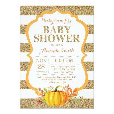 Orange and Gold Pumpkin Baby Shower Invitation