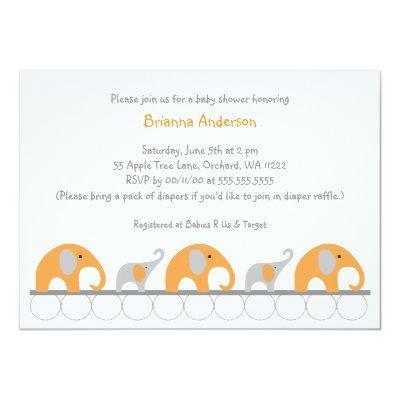 Orange and Gray elephants girl baby shower invite