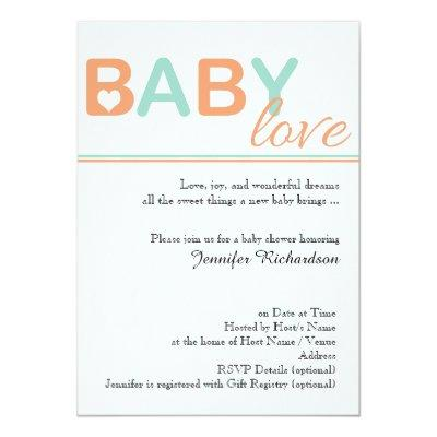 Orange and Teal Baby Love Baby Shower Invitation
