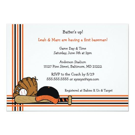 orange u0026 black baseball birthday party invitations