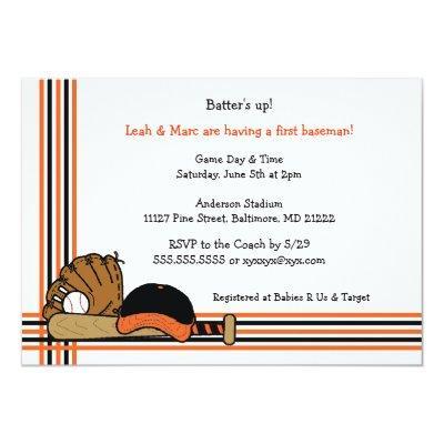 Orange & Black Baseball Baby Shower Birthday party Invitations