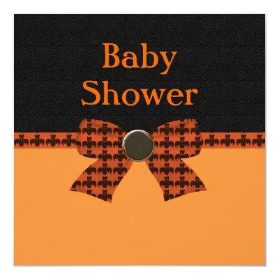 Orange & Black Bat Baby Shower Invitations