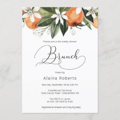 Orange Blossom Baby Shower Brunch Invitation