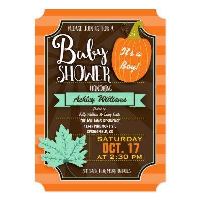 Orange & Brown Fall or Halloween Invitations