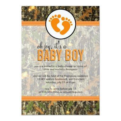Orange - Camo Baby Boy Shower Invitation