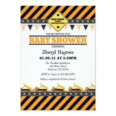 Orange Construction Baby Shower Invitations
