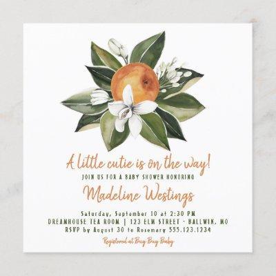 Orange Cutie Gender Neutral Baby Shower Invitation