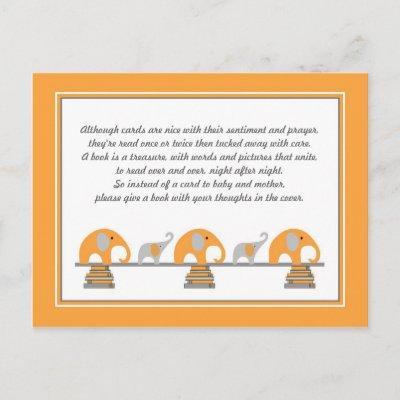 Orange Elephant Insert for Book Baby Shower Invitations Postcard