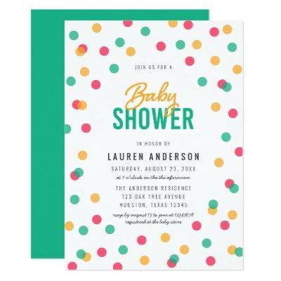 Orange Pink Teal Confetti Baby Shower Invitation