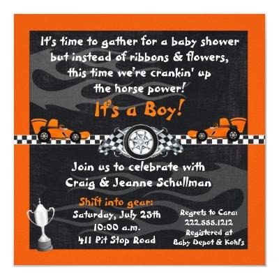 Orange Race Car Baby Shower Invitations
