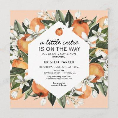 Orange Themed Little Cutie Baby Shower Invitation