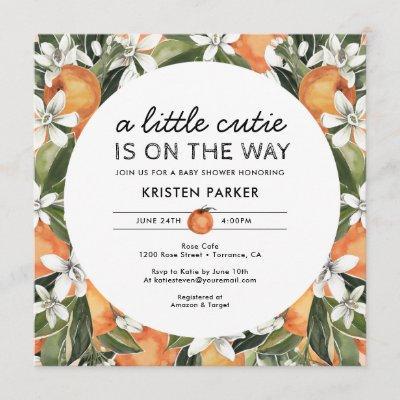 Orange Themed Little Cutie Baby Shower Square Invitation