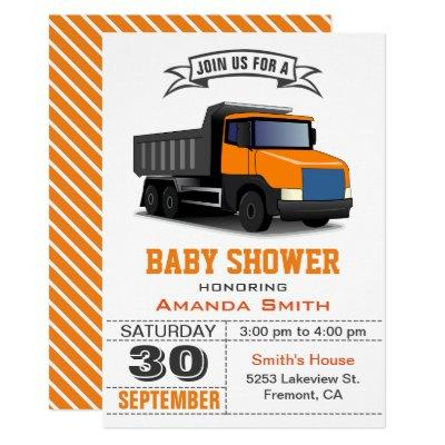 Orange Truck Baby Shower Invitations