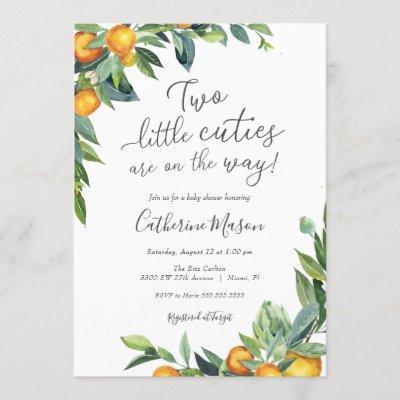 Orange Two Little Cuties Baby Shower Invitation