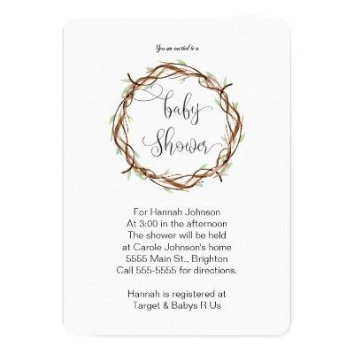 Organic Baby shower Invitations - Boy or Girl