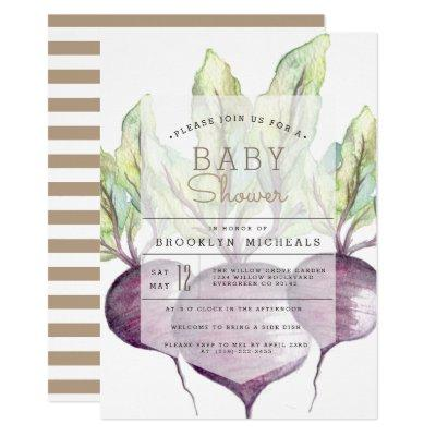 Organic Beets | Veggie | Watercolor Baby Shower Invitations