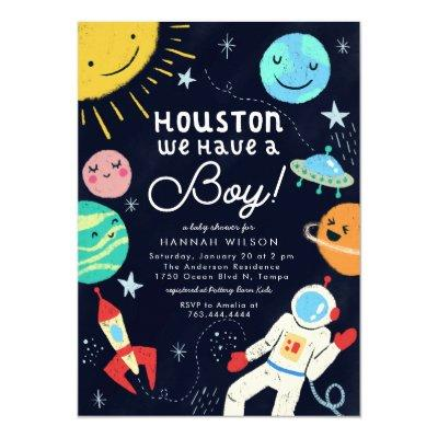 Outer Space Baby Shower Houston We Have A Boy Invitation