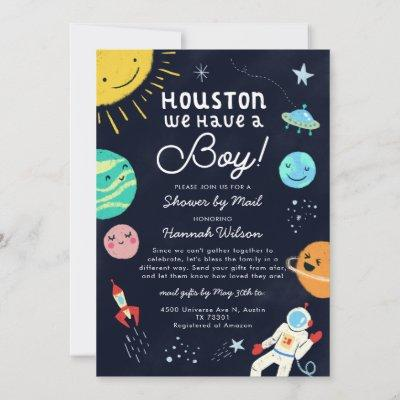 Outer Space Boy Baby Shower By Mail Invitation