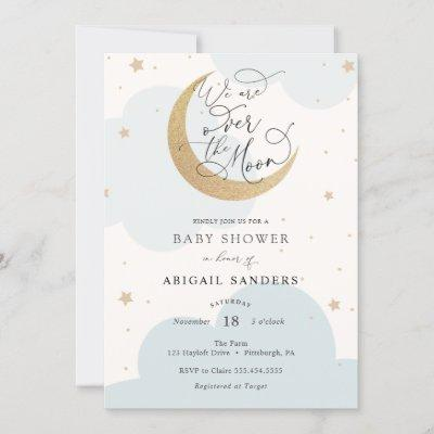 Over the Gold Moon Blue Baby Shower invitation
