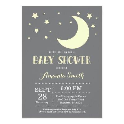 Over the Moon Baby Shower Invitations Yellow
