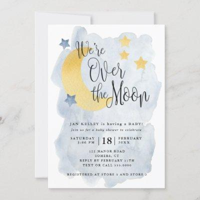 Over the Moon, Blue Watercolor Baby Shower Invitation