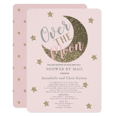 Over the Moon Blush Pink Baby Shower By Mail Invitation