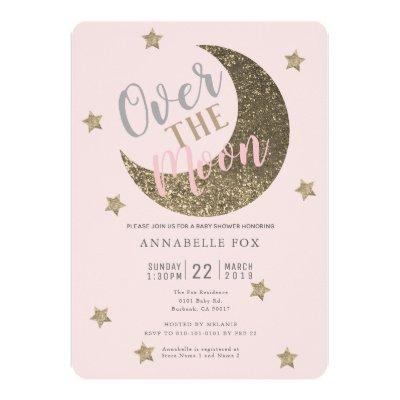 Over the Moon Blush Pink Baby Shower Invitations