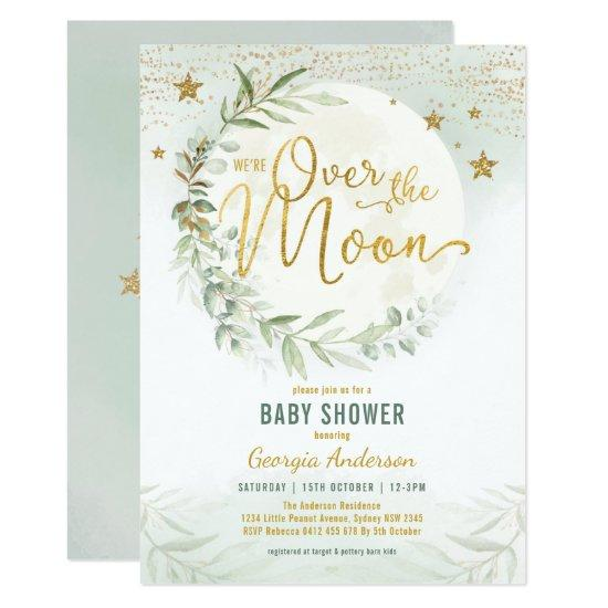 Over the Moon | Dreamy Greenery Gold Baby Shower