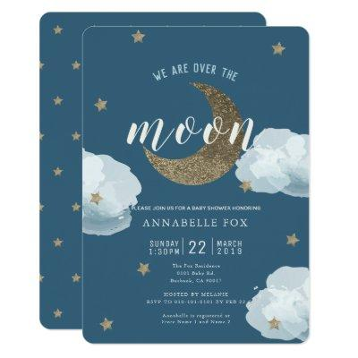 Over the Moon Midnight Blue Baby Shower Invitations