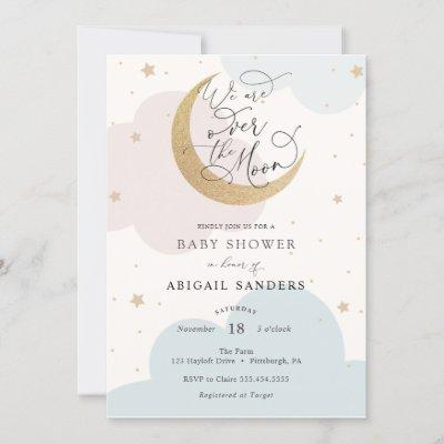 Over the Moon Pink and Blue Baby Shower invitation