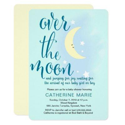 Over the moon, stars, baby shower invitations