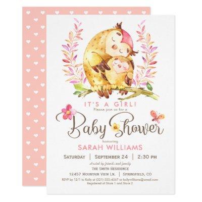 Owl Baby Shower, Girl Invitations