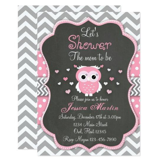 Owl Invitation, Chevron, Chalkboard Invitations