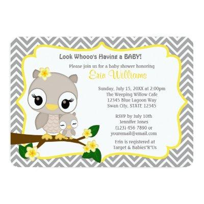 Owl Baby Shower Invitations Chevron Gray Yellow 160