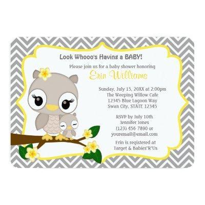 Owl Invitations Chevron Gray Yellow 160