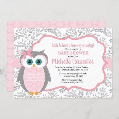 owl baby shower invitation girl pink gray woodland