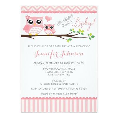 Owl Baby Shower Invitation | Pink Chevron | Girl