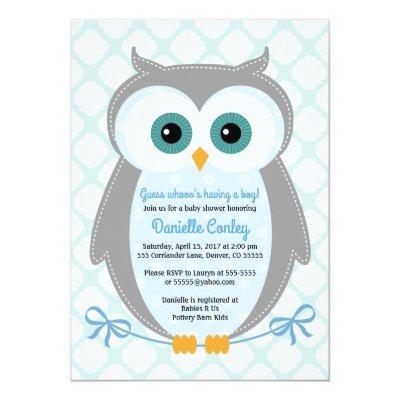 Owl baby shower invitations boys blue gray mint