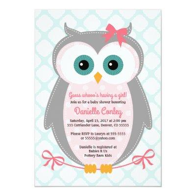 Owl baby shower invitations for girls mint pink