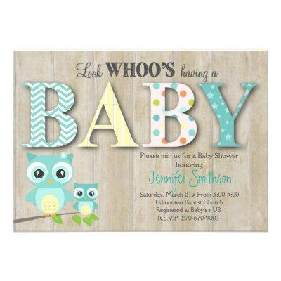 Owl Baby Shower - Look Whoo's Having a Baby Invitations