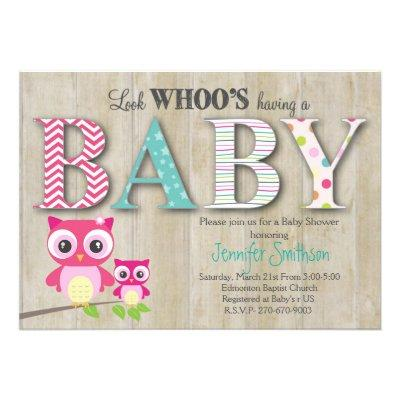 Owl - Look Whoo's Having a Baby Invitations