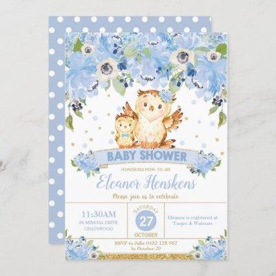 Owl Floral Baby Shower Blue Flowers Baby Boy Invitation