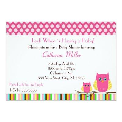 April showers baby shower baby shower invitations baby shower owl invitations baby girl shower hot pink stripes filmwisefo